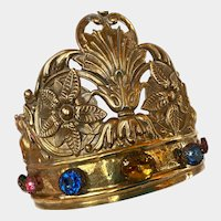 Magnificent LARGE Gilded Hammered Bronze Napoleon III Era Gilded Religious Santos Crown