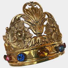 Magnificent LARGE Gilded Hammered Bronze Napoleon III Era Gilded Religious Santos Crown