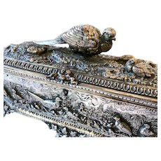Exquisite 19th Century French Silvered Figural Desk Box