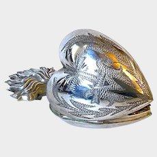 Fine Atelier Make Antique Silver French Sacred Heart Ex Voto