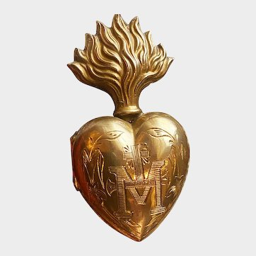 Tiny Antique French Gilded Brass Sacred Heart Ex Voto