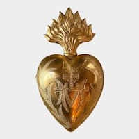 Exquisite Antique French Gilded Brass Sacred Heart Ex Voto