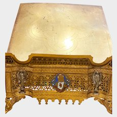 Antique French Gilded Brass Bronze Sacred Heart Lectern Bible Stand
