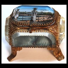 """Antique French """"Grand Tour"""" Beveled Glass Jewel Casket"""