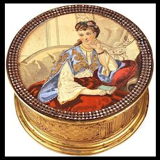 """Antique 19th Century French """"Menier"""" Chocolate Box with Hand-Colored Lithograph Under Glass"""