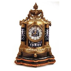 Magnificent French Napoleon III Bronze and Porcelain Clock