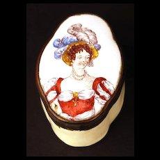 Antique Nineteenth Century French Enamel Snuff Box w/Hand Painted Portrait
