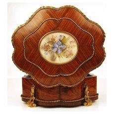 Antique French Napoleon III Tulipwood Vanity Box w/signed Pastel Medallion and Bronze Ormolu