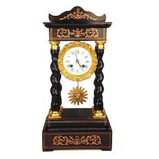 Antique French Napoleon III Clock w/Barley Twist Columns