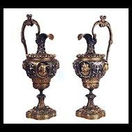 Pair of Antique Napoleon III Bronze Ewers/Urns