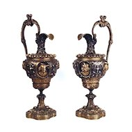 Pair of Antique Napoleon III Bronze Ewers/Urns