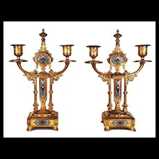 Pair of Antique Napoleon III Champleve Bougeoirs (Candlesticks)