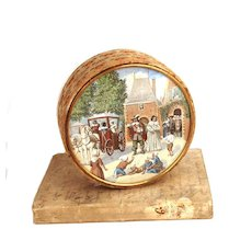 Antique French Bonbon Box w/signed Watercolor Painting Under Glass