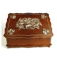 Antique Nineteenth Century Dresser Box w/ Figural Metal Ornamentation