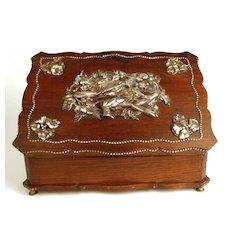 Antique Nineteenth Century Dresser Box w/ Figural Metal Ornamentation