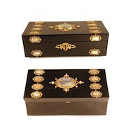 Antique French Desk Box w/Mother of Pearl Medallions and Bronze Doré Ormolu