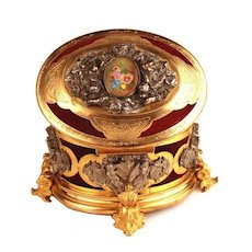 Antique Napoleon III  Argenté and Doré Coffre a Bijou (Jewelry Box) w/Silver Plated and Gilded Metal Mounts; Painted Medallion on French Marble