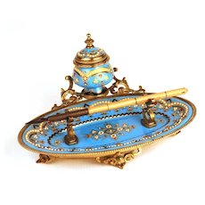 Antique Napoleon III Porcelain and Enamel Encrier w/Tray and Pen