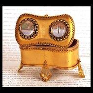 Antique Nineteenth Century French Gilded Trinket Box w/Eglomise Scenes