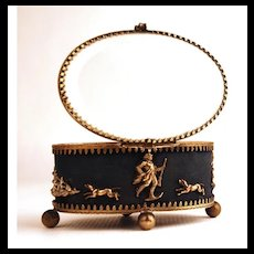 "Antique Nineteenth Century Trinket Box with Scene ""en Chasse"""