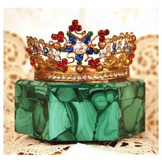 Small Antique Nineteenth Century French Diadem Multi-Colored Santos Crown