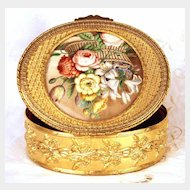 Grand Antique Napoleon III Gilded Bronze Boite/Box w/Fine Hand Painted Medallion