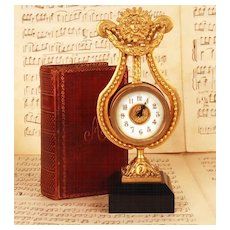 Antique Nineteenth Century Gilded Bronze Lyre Table Clock w/Marble Base