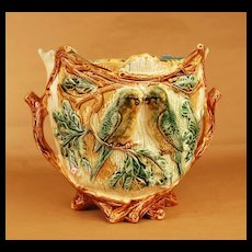 Antique French Majolica Cache Pot w/Kissing Parakeets