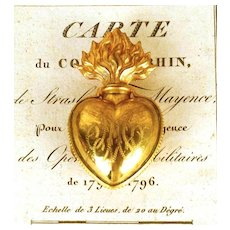 Antique Gilded Brass Sacred Heart Ex Voto Reliquaire/Reliquary Box
