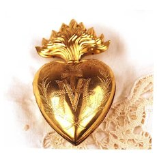 Antique Gilded Brass Sacred Heart Ex Voto/Reliquaire Box
