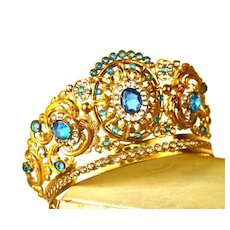 Antique 19th c. French Gilded Santos (Virgin Mary) Diadem Crown
