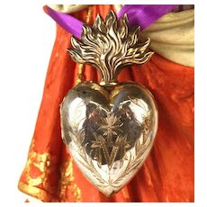 Antique 19th C. French Silver Flaming Heart (Vermeil Interior) of Mary Voto/Reliquary