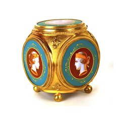 Antique Napoleon III Gilded Bronze Box with Five Hand Painted Enamel Cameo Portraits