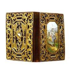 Exceptional Antique Napoleon III Gilded Bronze Cisele Carnet de Bal w/ Rare Hand Painted Dutch Scene