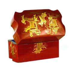 Rare Red Lacquer Chinoiserie Antique Napoleon III French Scent Casket