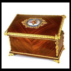 Antique Napoleon III Rosewood Tea Caddy w/Painted Porcelain Medallion