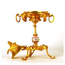 Antique Napoleon III Gilded Bronze/Porcelain Covered Cassolette with
