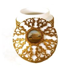 Magnificent 19th Century French Palais Royal Opaline Box/Jar with Reticulated Ormolu