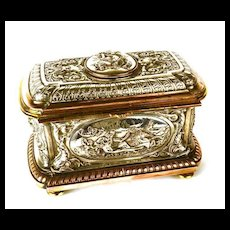 Rare and Magnificent, LARGE Antique Napoleon III French Metal Relief Marriage Coffre/Box