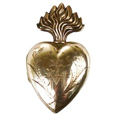 Exquisite Antique 19th Century French  Silver Sacred Heart Ex Voto Reliquary