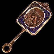 Rare Small Antique Napoleon III Champleve/Bronze Dore Miroir a Main (Hand Mirror) w/ Repousse Medallion