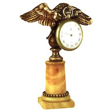 Antique Napoleon III  French Figural Gilded Bronze and Marble Porte Montre/Pocket Watch Holder