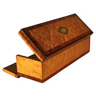 Antique Napoleon III French Birds Eye Maple, Satinwood and Cherry Wood Glove or Desk Box