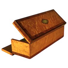 Antique Napoleon III French Birds Eye Maple, Satinwood and Cherry Wood Glove or Desk Box