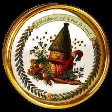 "Rare Restauration Era ""Proverb"" Eglomise Boite a Dragees (Bon Bon Box)"