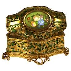Antique Nineteenth Century Napoleon III Scent Box with Hand Painted Eglomise Medallion