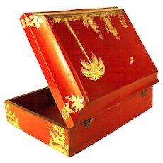 RARE Early Eighteenth Century French Lacquer Casket or Boite a Perruque with Unicorn Icon