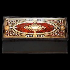 Fine Antique Napoleon III Era French Box with Copper Brass and Mother of Pearl Inlay