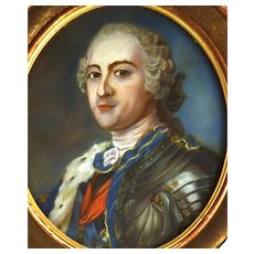 Fine Antique Nineteenth Century Full Size Framed Gouache Painting Louis XV