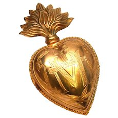 Large Antique Nineteenth Century French Gilded Brass Sacred Heart Reliquary Ex Voto
